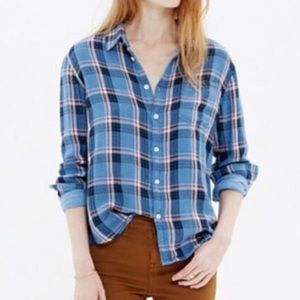 Blue and red madewell button down flannel